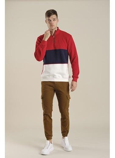 Oksit Louis Teor Yarım Fermuarlı Panelli Polar Sweatshirt Kırmızı